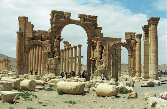 Monumental arch in the eastern section of Palmyra's colonnade.
