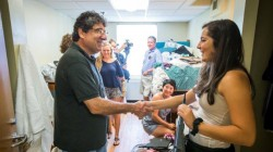 Chancellor Nicholas S. Zeppos welcomes first-year students during Move-In 2015.