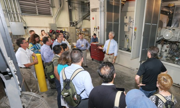 Plant Operations' Mitch Lampley discussed the Vanderbilt Power Plant's recent conversion to using natural gas exclusively during a campus tour for NACUBO members July 20.