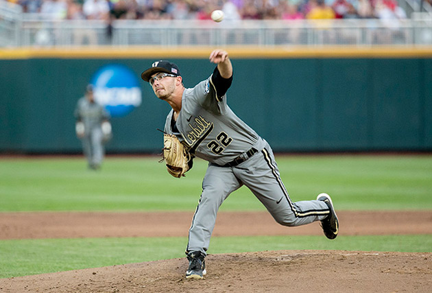 Phillip Pfeifer pitches in game two of the College World Series final.