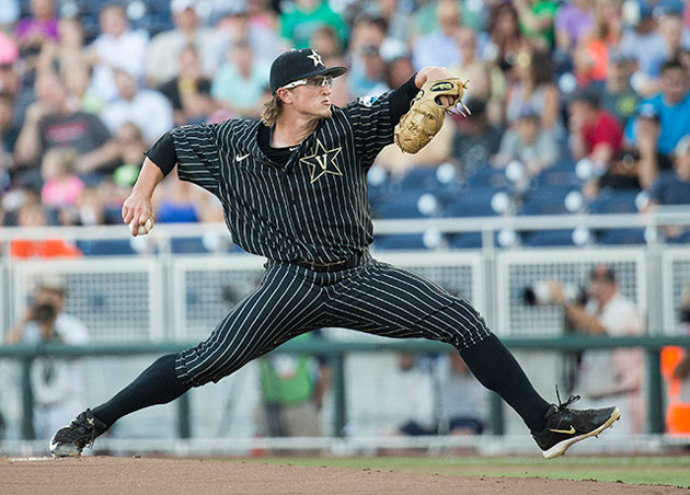 Right-handed pitcher Carson Fulmer in action at the 2015 College World Series.