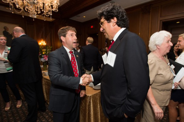 U.S. Rep. Chuck Fleischmann and Chancellor Nicholas S. Zeppos at Vanderbilt's congressional reception in Washington, D.C. June 9.