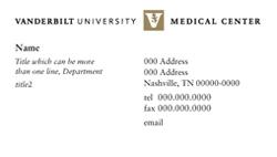 Sample Medical Center business card design.