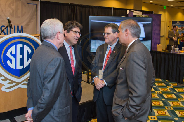 Chancellor Nicholas S. Zeppos (second from left) talks with University of Mississippi Chancellor Dan Jones, University of Georgia President Jere Morehead and University of South Carolina President Harris Pastides at the 2014 SEC Symposium.