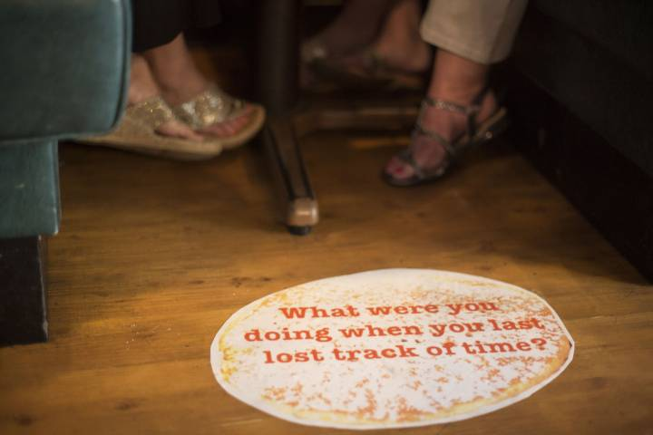 image of pancake on floor with words What Were You Doing The Last Time You Lost Track Of Time?