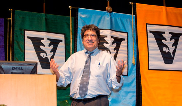 Chancellor Nicholas S. Zeppos addressed faculty and handed out awards at the spring assembly March 31. (Joe Howell/Vanderbilt)