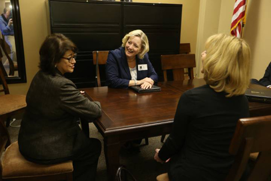 Provost Susan Wente (center) and Vice Chancellor Beth Fortune (right) meet with Sen. Dolores Gresham (left) during Vanderbilt Day on the Hill. (John Russell/Vanderbilt)