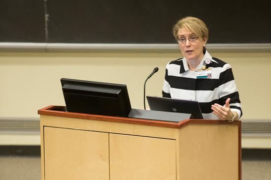 Dr. Meg Rush at the March 25 CARE event in Light Hall. (Joe Howell/Vanderbilt)