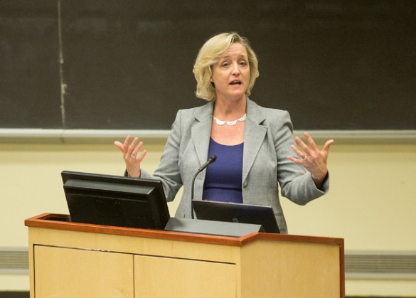 Provost Susan Wente discussed building trust in the workplace at the CARE event March 25. (Joe Howell/Vanderbilt)