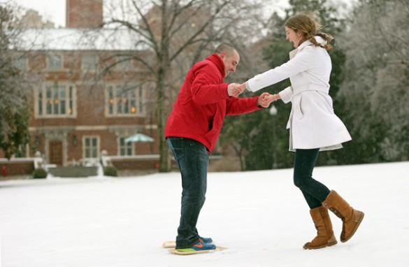Many students used cafeteria trays to skate, sled and slide on campus during the winter storm. (John Russell/Vanderbilt)