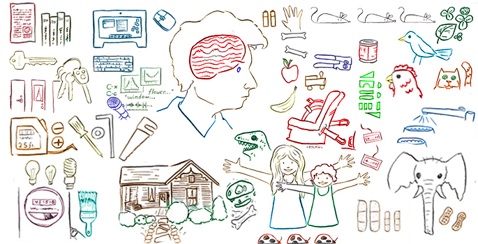 conceptual cartoon of memory