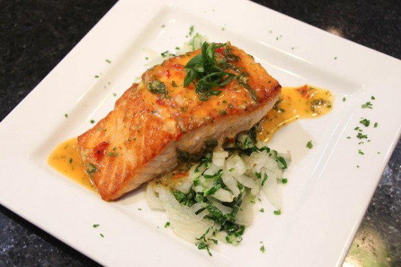 Salmon with Sweet Chili, Scallion and Lime Butter Sauce