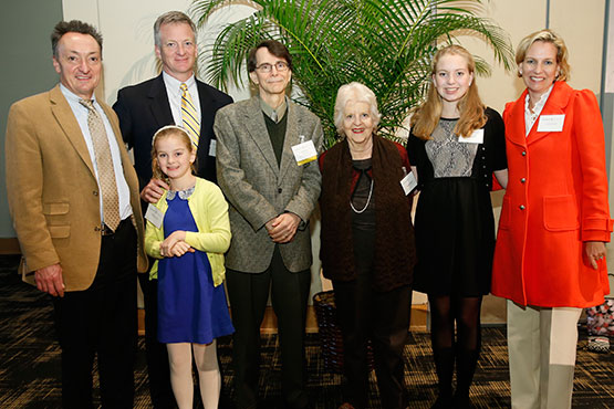 Fant family members celebrate the first holder of the James Thornton Fant Chair in Sustainability Studies: From left, Interim Dean John Sloop; Fant Smith, BA'92; Helen Smith; David Hess, James Thornton Fant Chair in Sustainability Studies; Nancy Smith; Sally Smith; and Collier Smith. Ruff and Susan Fant were unable to attend the event.