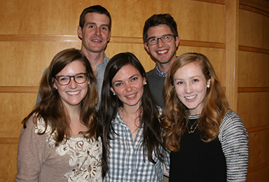 The Vanderbilt team competing in the Hult Prize Challenge includes (front from left): Ellen Page, Alyssa Van Camp and Kathleen McKissack; and (back from left): Matthew Inbusch and Jacob Hill.