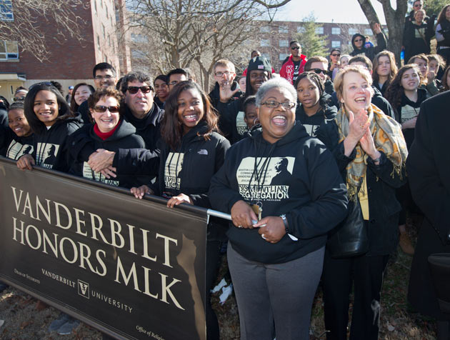 Chancellor Nicholas S. Zeppos, Lydia Howarth and others from Vanderbilt participated in the 2015 Nashville Freedom March. (Joe Howell/Vanderbilt)