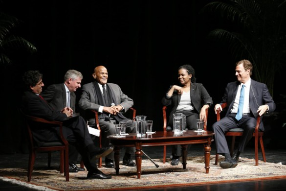 L-r: Chancellor Nicholas S. Zeppos, Jon Meacham, Harry Belafonte, Annette Gordon-Reed and Michael Beschloss participated in a conversation about the 50th anniversary of the Voting Rights Act Jan. 13 in Langford Auditorium. (John Russell/Vanderbilt)