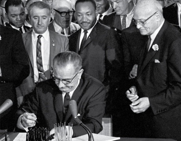 President Lyndon Johnson signed the Voting Rights Act into law on Aug. 6, 1965.
