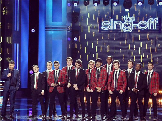 "Host Nick Lachey (far left) and The Melodores on ""The Sing-Off"" stage. (courtesy of The Melodores)"