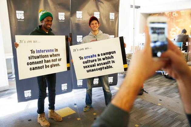 "Vanderbilt students participate in the social media campaign to raise awareness of the national ""It's On Us"" initiative. (Vanderbilt University)"