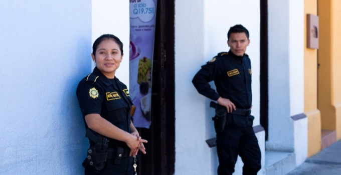 policewoman and policeman on Guatemala street