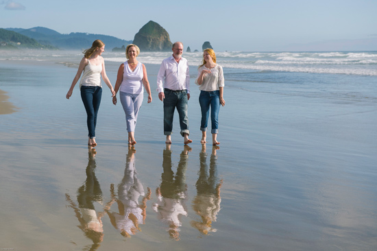 Wente credits her family life with keeping her centered. She enjoyed a vacation with daughters Lindsay (far left) and Allison (far right) and husband Chris Hardy at Cannon Beach, Oregon, in July. (photo by George Vetter)