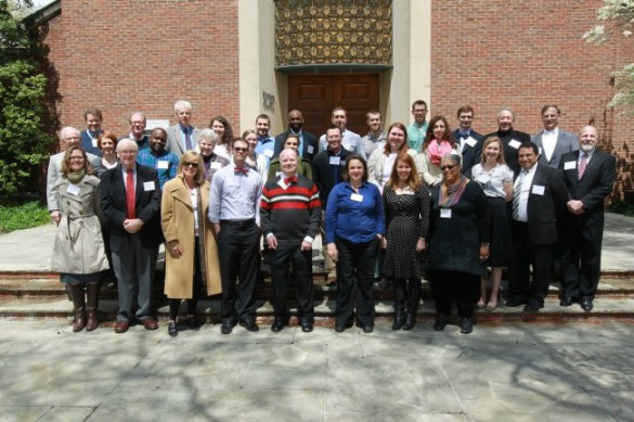 Current and former Cal Turner Scholars gather on steps of Benton Chapel with Dean Emilie Townes and Cal Turner Jr. during an April 2014 meeting and reception.