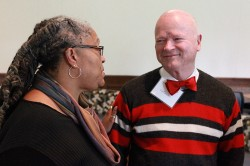 Dean Emilie Townes and Cal Turner Jr. at the Divinity School reception for current and former Turner Scholars.