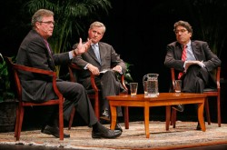 Former Florida Gov. Jeb Bush (left) joined Vanderbilt Chancellor Nicholas S. Zeppos (right) and Distinguished Visiting Professor Jon Meacham (center) for a conversation Oct. 28 in Ingram Hall.