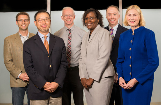 L-r: Faculty Senate Executive Committee members for 2014-15 Jeff Johnston, Paul Lim, Donald Brady, Rolanda Johnson, Richard Willis and Ann Price.