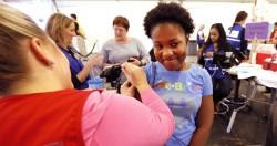 Vanderbilt graduate student Patrice Wagner gets her flu shot at Flulapalooza on Oct. 1. (Joe Howell/Vanderbilt)