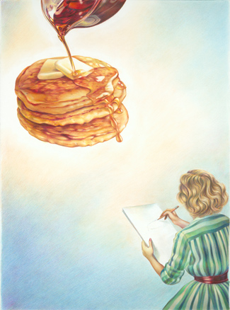 """Flapjacks"" by Marilyn Murphy (2009), colored pencils and pastel on paper."