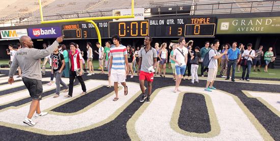 Students and scholars toured the Vanderbilt Football Stadium, including Dudley Field. (Steve Green/Vanderbilt)