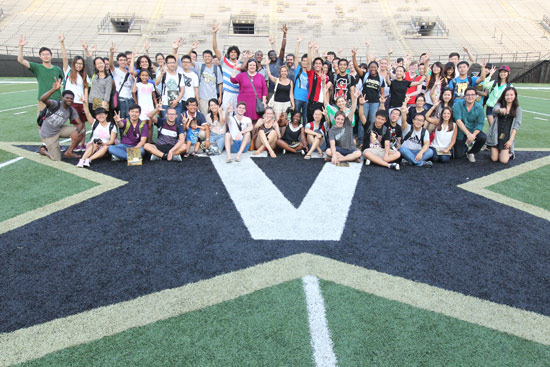 """More than 60 international students and scholars participated in """"Football 101."""" (Steve Green/Vanderbilt)"""