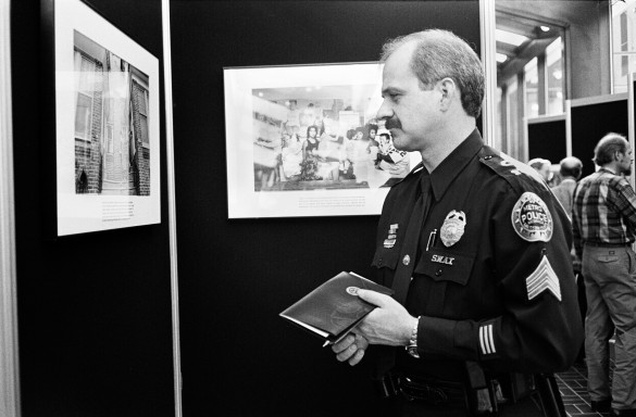 Police officer in uniform at exhibit
