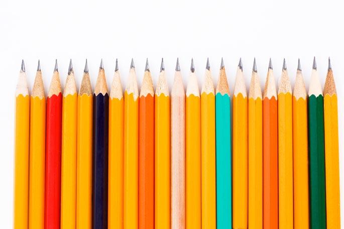 A line of pencils