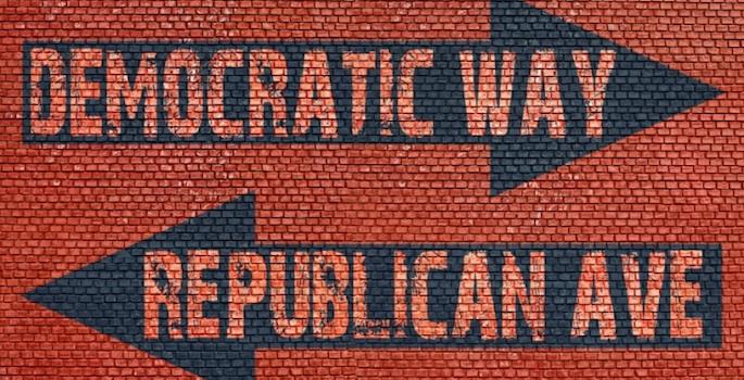 Democrat Republican opposite arrows concept