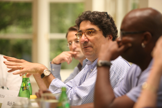 Chancellor Nicholas S. Zeppos (center) is leading an executive committee of faculty to discuss ideas and plan for the future of Vanderbilt. (Daniel Dubois/Vanderbilt)