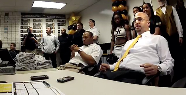 Coach James Franklin presides over the Commodore War Room on National Signing Day, Feb. 6, 2013. (Pat Slattery/Vanderbilt)