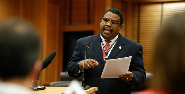 Vanderbilt Police Chief August Washington addressed the Capitol Hill press corps March 5 about Senate Bill 1241, which would strip VUPD of its police powers. (John Russell/Vanderbilt)