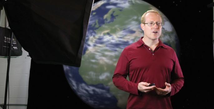 Professor of Computer Science Doug Schmidt films a video for Coursera. (Susan Urmy/Vanderbilt)