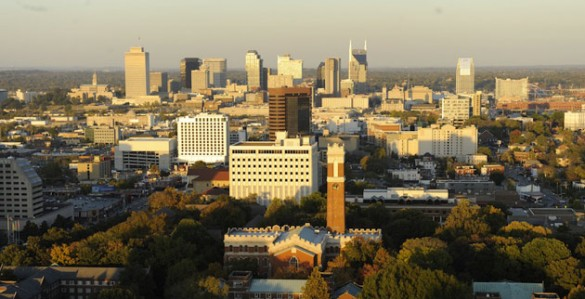 The Vanderbilt University campus against the Nashville skyline. (Vanderbilt University)