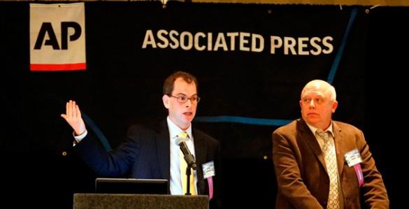 Josh Clinton (left) and John Geer at the Associated Press/Tennessee Press Association Legislative Planning Session Feb. 8 at the Doubletree Hotel. (Joe Howell/Vanderbilt)