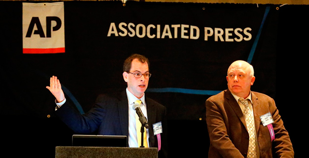 Josh Clinton (left) and John Geer at the Associated Press/Tennessee Press Association Legislative Planning Session Feb. 8 at the Doubletree Hotel. (Joe Howell/Vanderbilt)