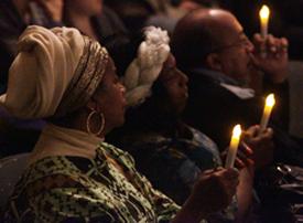 The candlelight vigil at Langford Auditorium. (Steve Green/Vanderbilt)