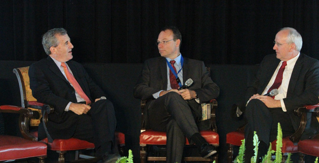 Dan Roden, Jeff Balser and Raymond Dubois at the Global South Summit Nov. 14. (Steve Green/Vanderbilt)