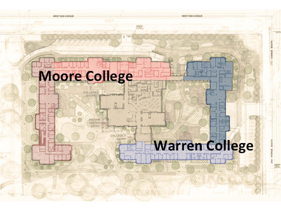 Vanderbilt's Board of Trust has approved plans to name the first two college halls Moore College and Warren College. (image courtesy Vanderbilt University)