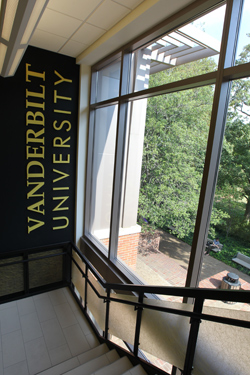 One of two new stairways created in the Rand Hall renovation. (Steve Green/Vanderbilt)