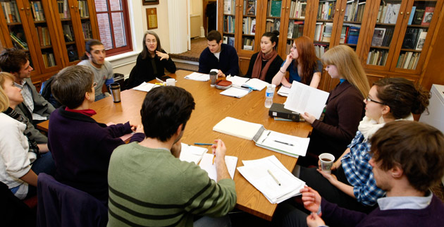 Kate Daniels (center, near window) addresses students in a creative writing master's class. (Vanderbilt University)