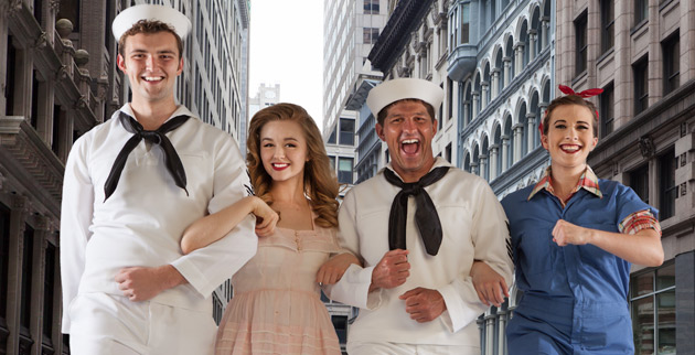 """L-r: Blair's Steven Fiske as Claudio, Emily Palmer as Hero, Patrick Waller as Benedick and Evelyn O'Neal Brush as Beatrice in the Nashville Shakespeare Festival's 2012 production of """"Much Ado About Nothing."""" (photo by Jeff Frazier)"""