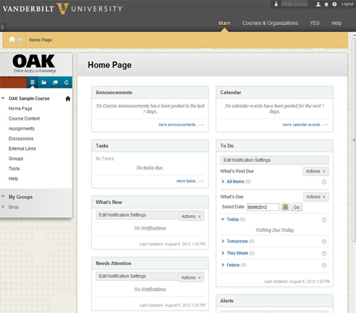 A new version of OAK, Vanderbilt's course management system, will launch Aug. 12. (Vanderbilt University)